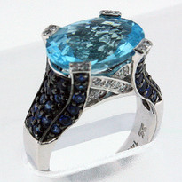 14kt Gold Blue Topaz and Diamond Ring 4Y51ML-1