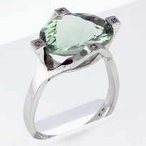 5.2ct Green Amethyst White Gold Ring