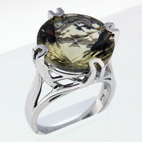 10.1ct Green Amethyst White Gold Ring
