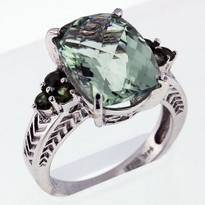 5.42ct Green Amethyst White Gold Ring