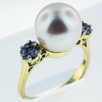 10mm Fresh Water Pearl Ring Yellow Gold