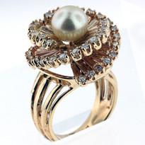 8mm Cultured Pearl Ring Yellow Gold