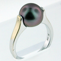 9.9mm Black South Sea Pearl Ring  White Gold