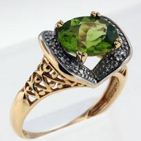 1.78ct Peridot and Diamond Ring