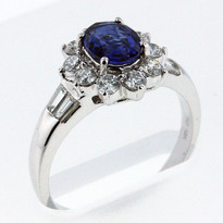 1.05ct Sapphire Ring with .60ct Diamonds in White Gold