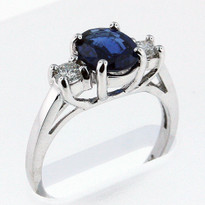 1.21ct Sapphire Ring with .24ct Diamonds in White Gold