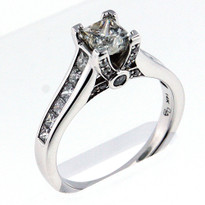 14k White Gold Engagement Ring with .92ct Diamond Total Weight