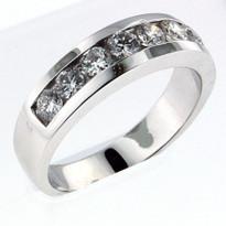 14kt White Gold, 1.21ct Diamond Wedding Band-Men's