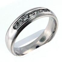 14kt White Gold, .42ct Diamond Wedding Band-Men's
