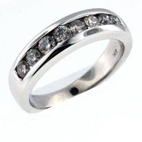 14kt White Gold, .65ct Diamond Wedding Band-Men's