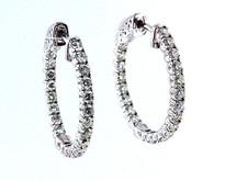 14kt White Gold Diamond Hoop Earrings(48JJ)