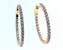 18kt Rose Gold Diamond Hoop Earrings