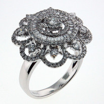 1.08ct Diamond Cluster Ring in White Gold