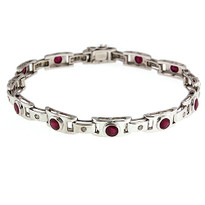14k White Gold Ruby Bracelet with 3.98ct Ruby
