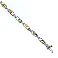 14 kt Two Tone With 1.28ct Diamond Tennis Bracelet