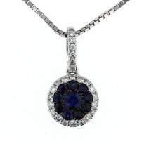 Sapphire .43ct Pendant in 14kt White Gold