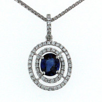 Sapphire .84ct Pendant in 18kt White Gold