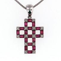 Diamond Cross .11ct Pendant with ruby stone 1.51ct
