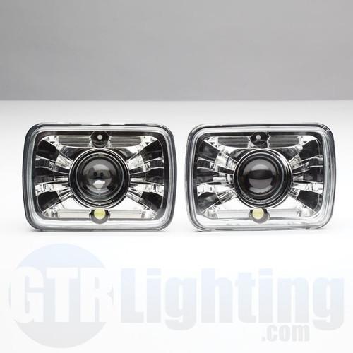 "GTR Lighting Tru-Projector Dual Beam 7x6"" H6054 Chrome Headlight Housing"