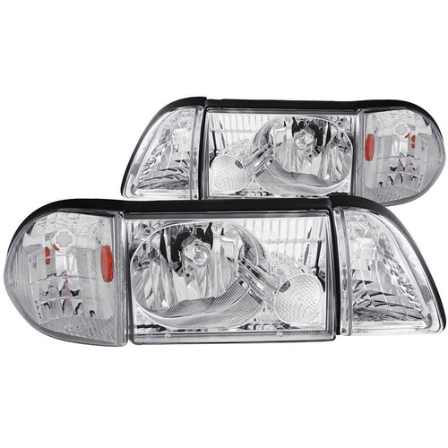 Anzo 87-93 Ford Mustang Crystal Headlights with Parking Lights - Chrome Housing
