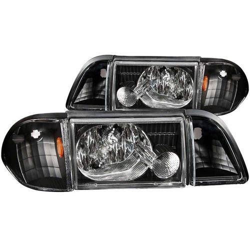 Anzo 87-93 Ford Mustang Crystal Headlights with Parking Lights - Black Housing