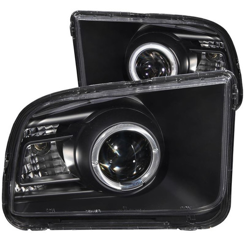 Anzo 05-09 Ford Mustang Projector Headlights with Halo (2010 Style) - Black Housing