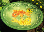 Achla Blue Fish Bowl Ceramic Birdbath & Stake, 16 Inch Diameter