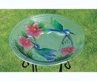 Evergreen Hummingbird Couple Glass Bird Bath