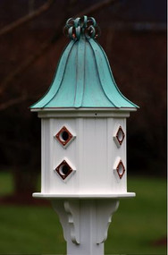 Fancy Home Products Birdhouse Patina Copper Curly Roof BH14-8CP-PC CURLY