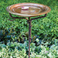Ancient Graffiti Bird Bath Iron Twig Base, Solid Copper