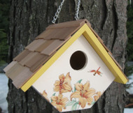 Home Bazaar Printed Wren Lily Hanging Bird House
