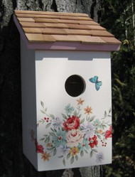 Home Bazaar Printed Saltbox Pastel Bouquet Bird House