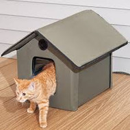K & H 3993  Heated Outdoor Kitty House Free ShippingK & H Heated Outdoor Kitty House This is made with 600 denier nylon with a vinyl backing that makes this waterproof. The roof hangs over the 2 doors to keep cats warm, safe and dry. Easy to assemble..