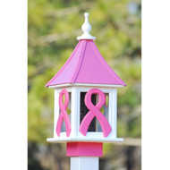 "Fancy Home Products Square Bird Feeder Breast Cancer Awareness 10"" BF10-SQ-RIBBON"