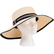 Sloggers Sara Braided Wide Hat Cream w/ Black White & Red Band