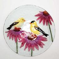 Evergreen Painted Finches Glass Birdbath EG2GB059