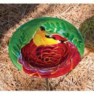 Evergreen Summer Song Glass Birdbath with Stake EG2GB127