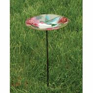 Evergreen Hummingbird Glass Birdbath with Stake EG2GM314