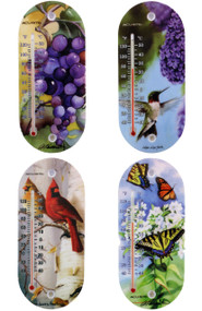 Accurite 8 inch Suction Cup Thermometer Bird Nature Themed 4 assorted designs