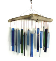 Blue Handworks Seaglass & Driftwood Wind Chime