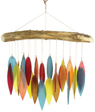 Blue Handworks Santa Fe Colors Leaves & Driftwood Glass Wind Chime