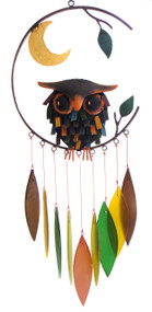 Blue Handworks Spiky Owl w/Moon Wind Chime
