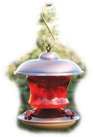Woodlink Brushed Copper & Ruby Glass Feeder
