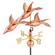 "Good Directions 28"" 3 Geese in Flight Weathervane - Polished Copper 657P"