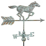 Good Directions Horse Garden Weathervane - Blue Verde Copper w/Garden Pole  801V1G