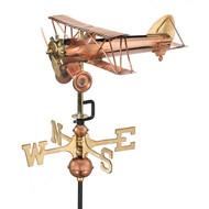 Good Directions Biplane Garden Weathervane - Polished Copper w/Garden Pole  8812PG