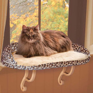 "K&H Deluxe Kitty Sill with Bolster Leopard Cat Bed 14"" x 24"" x 10"" KH9097"