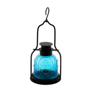 Achla Decorative Iron and Glass Lantern Teal ML-03TB