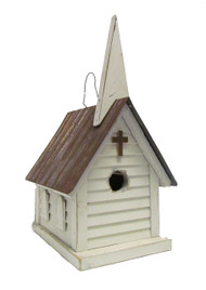 Bird-N-Hand Distressed Wood Church Birdhouse Decorative Bird House SM3