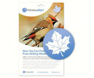 Window Alert Maple Leaf Decal Prevent Bird Strikes  Millions of wild birds are killed each year flying into windows. Now you can help reduce this loss of life. * WindowAlert is a static-cling decal that may be applied to home and office windows. The decal contains a component which brilliantly reflects ultraviolet sunlight. This ultraviolet light is invisible to humans, but glows like a stoplight for birds. Birds have vision that is up to 12 times better than that of humans. * WindowAlert decals help birds see windows and thus avoid striking the glass. (4 per package). Window Alert decals may be used only on an exterior glass surface free of any overlay, tinting, film, or coating. Clean glass first with water. Avoid use of chemicals such as ammonia or window cleaners. Decals are best applied when glass is warm (ideally greater than 50 degrees). If applied during winter months, clean glass with warm water prior to application. Place decals alone or in groups every few feet on the outside of the window. Position out of reach of infants and small children. Restore static cling by rinsing in lukewarm water. UV coating may fade based on exposure and local elevation. Replace decals every 9 to 12 months.